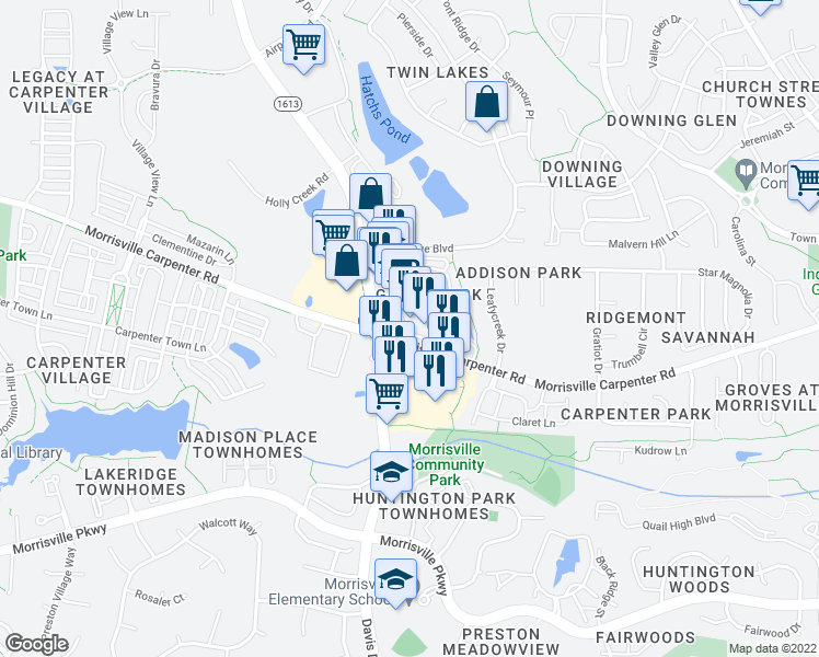 map of restaurants, bars, coffee shops, grocery stores, and more near 3107 Grace Park Drive in Morrisville