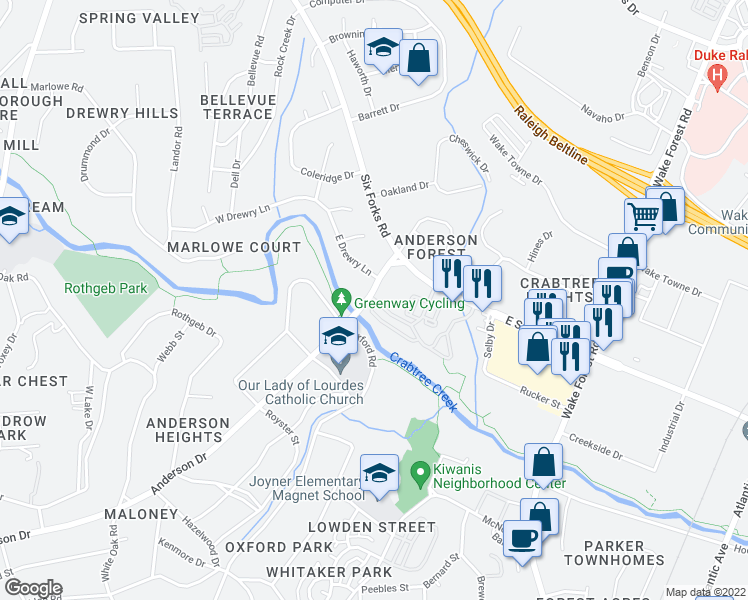 map of restaurants, bars, coffee shops, grocery stores, and more near 121 Calibre Chase Dr in Raleigh