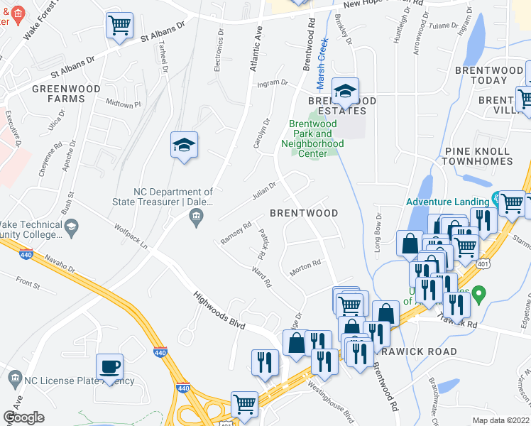 map of restaurants, bars, coffee shops, grocery stores, and more near in Raleigh