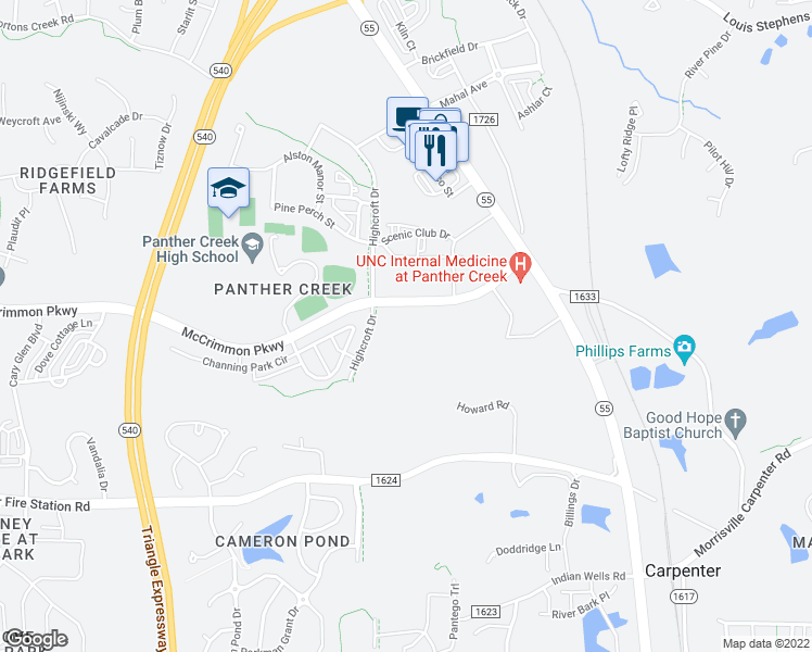 map of restaurants, bars, coffee shops, grocery stores, and more near Alexan Drive in Cary