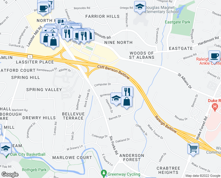 map of restaurants, bars, coffee shops, grocery stores, and more near 3814-3876 Computer Drive in Raleigh