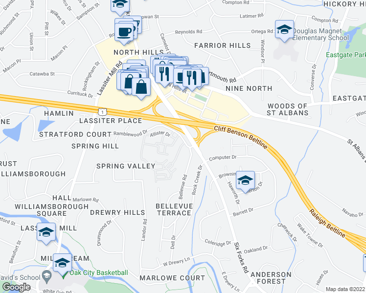 map of restaurants, bars, coffee shops, grocery stores, and more near 3623 Rolston Drive in Raleigh