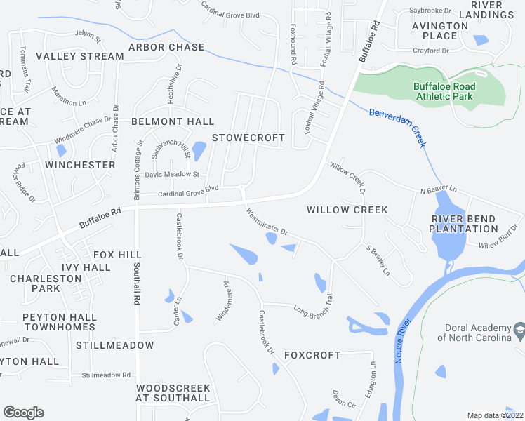 map of restaurants, bars, coffee shops, grocery stores, and more near 4808 Westminster Drive in Raleigh