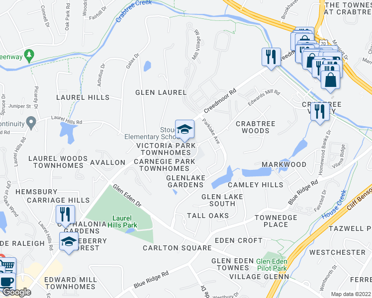 map of restaurants, bars, coffee shops, grocery stores, and more near 4210 Edwards Mill Road in Raleigh