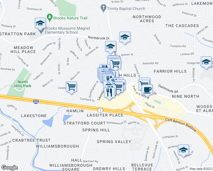 map of restaurants, bars, coffee shops, grocery stores, and more near 4209 Lassiter Mill Road in Raleigh