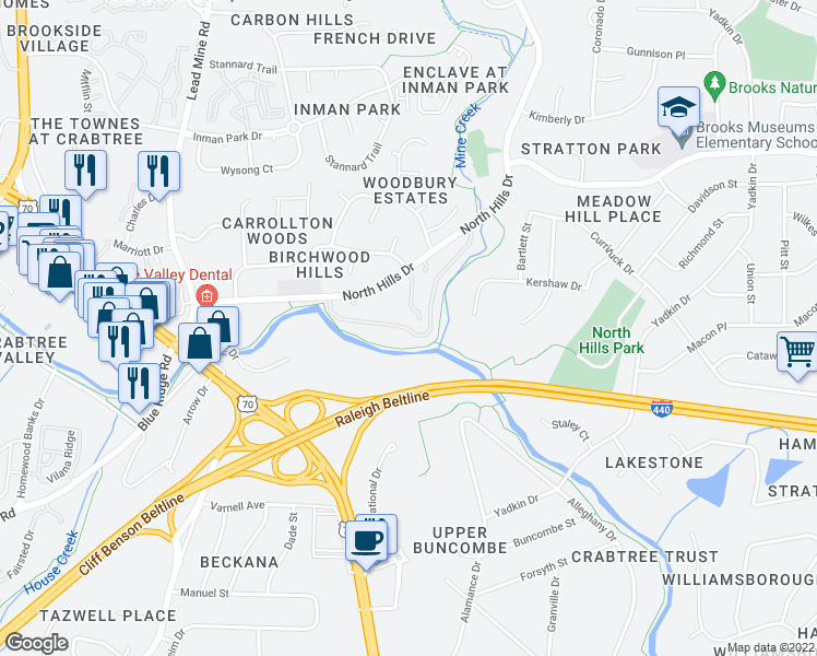 map of restaurants, bars, coffee shops, grocery stores, and more near Generation Dr in Raleigh