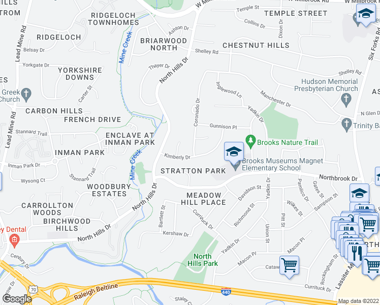 map of restaurants, bars, coffee shops, grocery stores, and more near 1309-1313 Kimberly Drive in Raleigh