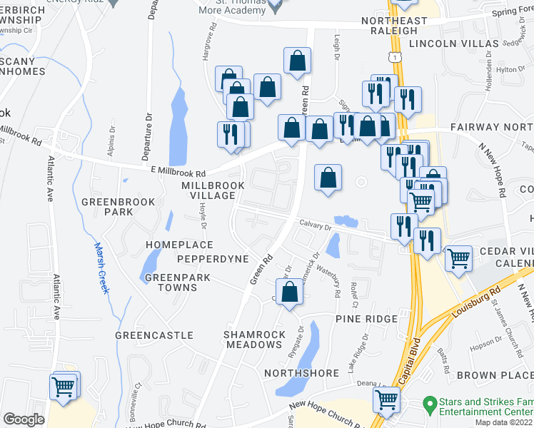 map of restaurants, bars, coffee shops, grocery stores, and more near 2900 Calvary Dr in Raleigh