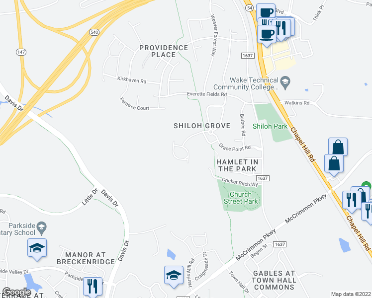 map of restaurants, bars, coffee shops, grocery stores, and more near Suffolk Green Ln in Morrisville