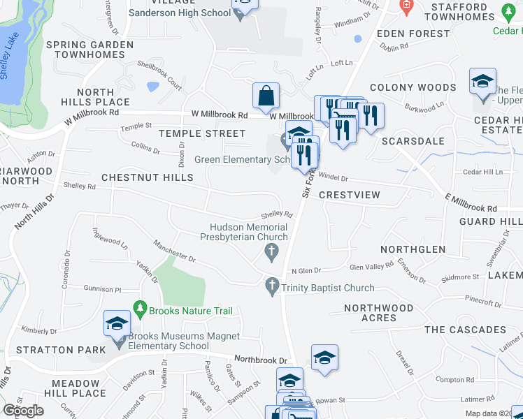 map of restaurants, bars, coffee shops, grocery stores, and more near 562 Shelley Road in Raleigh