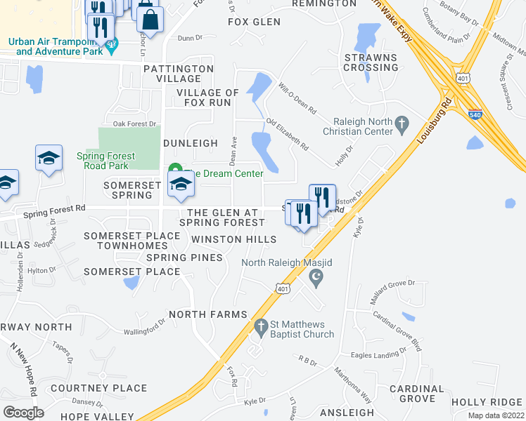 map of restaurants, bars, coffee shops, grocery stores, and more near 5613 Falling Maple Drive in Wilson