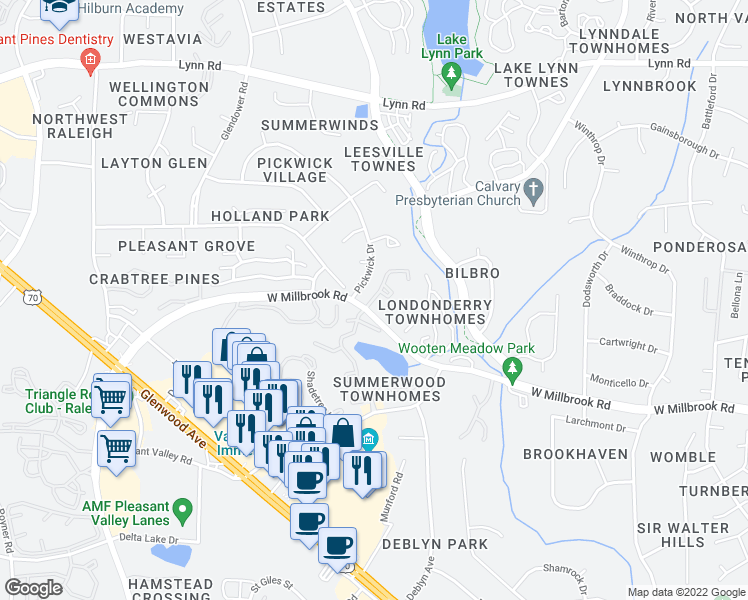 map of restaurants, bars, coffee shops, grocery stores, and more near 4016 Twickenham Ct in Raleigh
