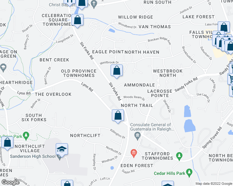 map of restaurants, bars, coffee shops, grocery stores, and more near Six Forks Rd & Acacia Dr in Raleigh