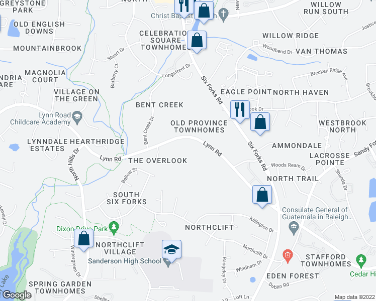 map of restaurants, bars, coffee shops, grocery stores, and more near Bridle Ridge Ln in Raleigh