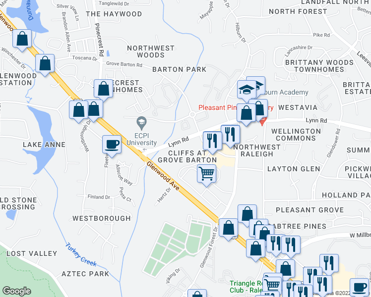 map of restaurants, bars, coffee shops, grocery stores, and more near 4001 Lynn Dr in Raleigh