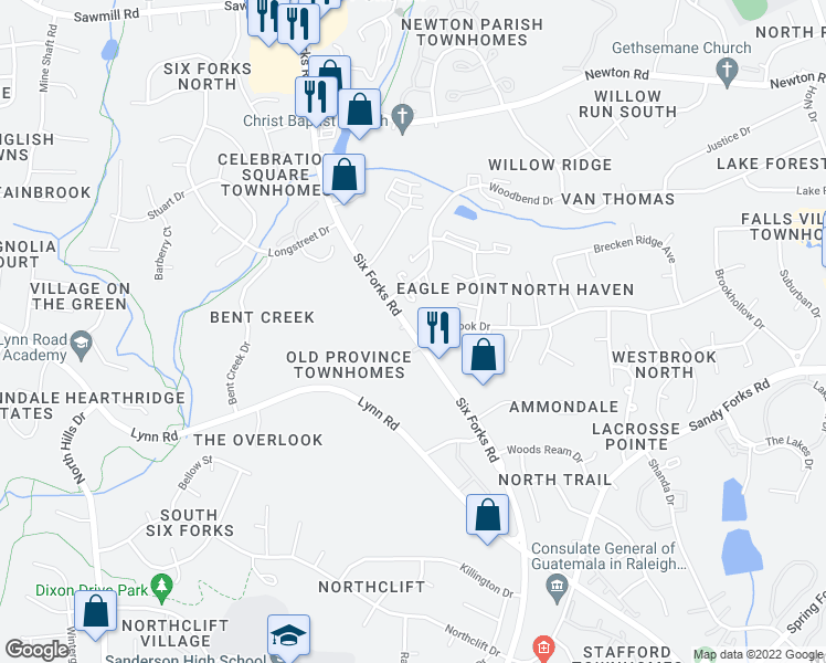 map of restaurants, bars, coffee shops, grocery stores, and more near 6772-6798 Six Forks Rd in Raleigh