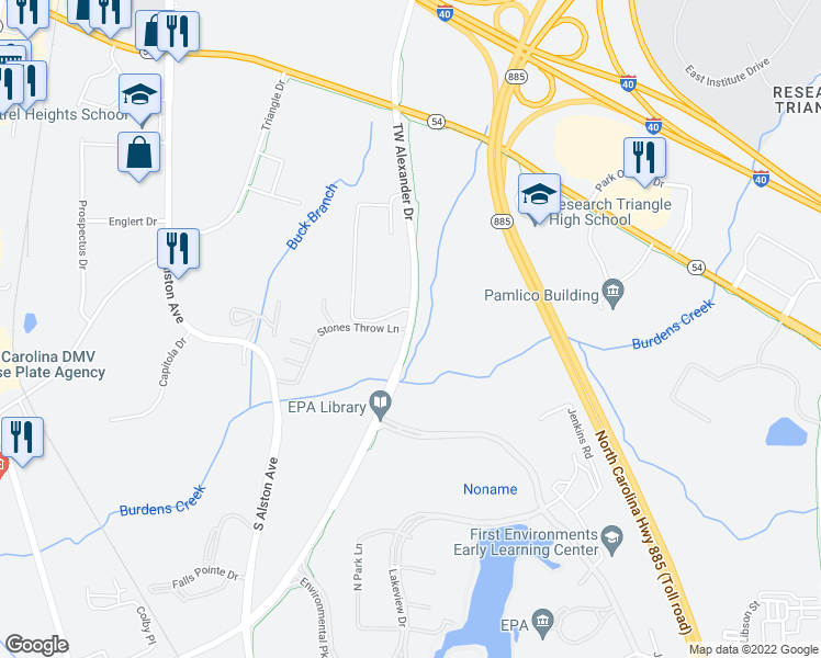 map of restaurants, bars, coffee shops, grocery stores, and more near T W Alexander Dr & Stones Throw Ln in Durham