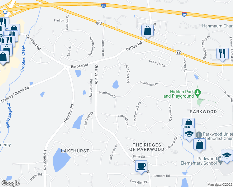 map of restaurants, bars, coffee shops, grocery stores, and more near 915 Huntsman Drive in Durham