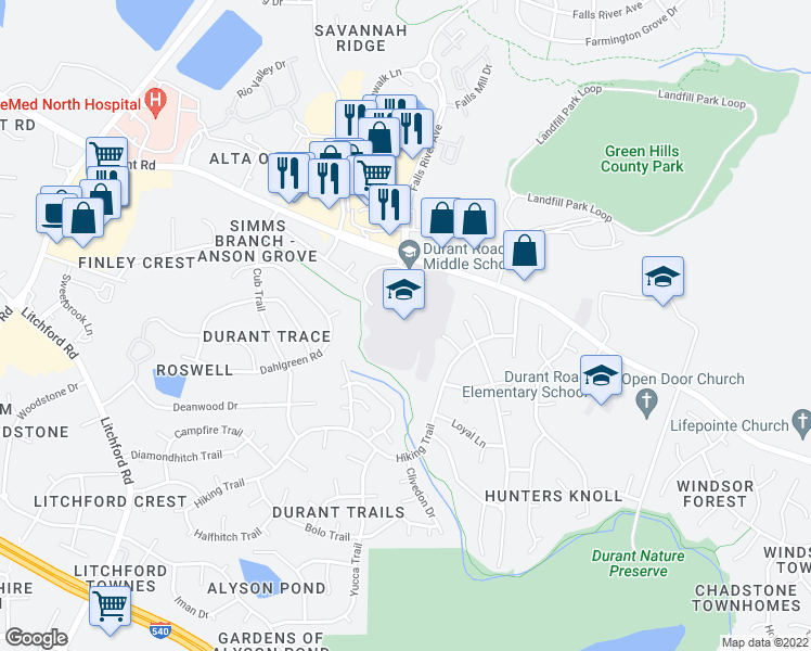 map of restaurants, bars, coffee shops, grocery stores, and more near 10401 Durant Rd in Raleigh