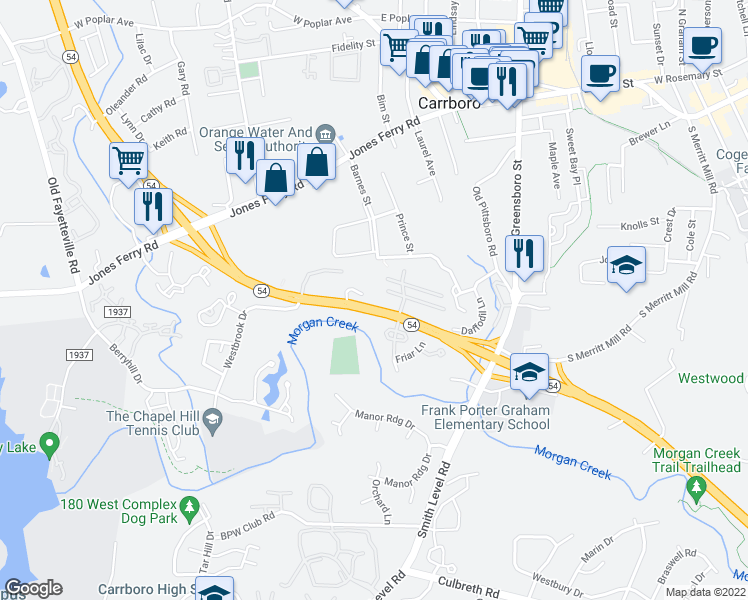 map of restaurants, bars, coffee shops, grocery stores, and more near 401 West North Carolina Highway 54 Bypass in Carrboro