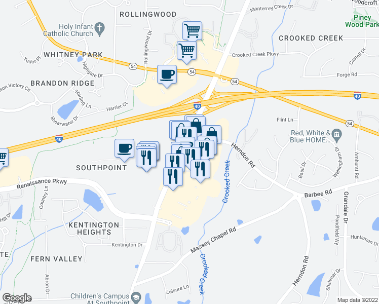 map of restaurants, bars, coffee shops, grocery stores, and more near 6905 Fayetteville St in Durham