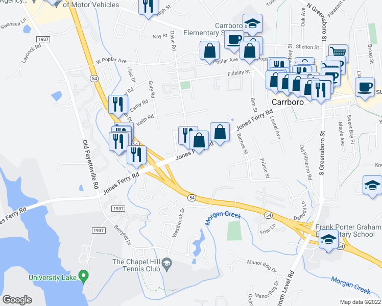 map of restaurants, bars, coffee shops, grocery stores, and more near 406-498 Jones Ferry Rd in Carrboro