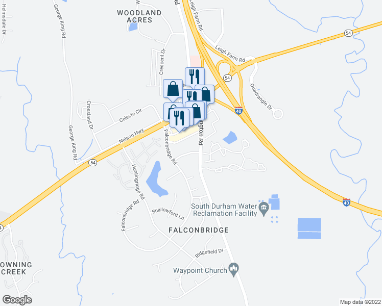 map of restaurants, bars, coffee shops, grocery stores, and more near Farmington Dr & Bloomsbury Ct in Durham