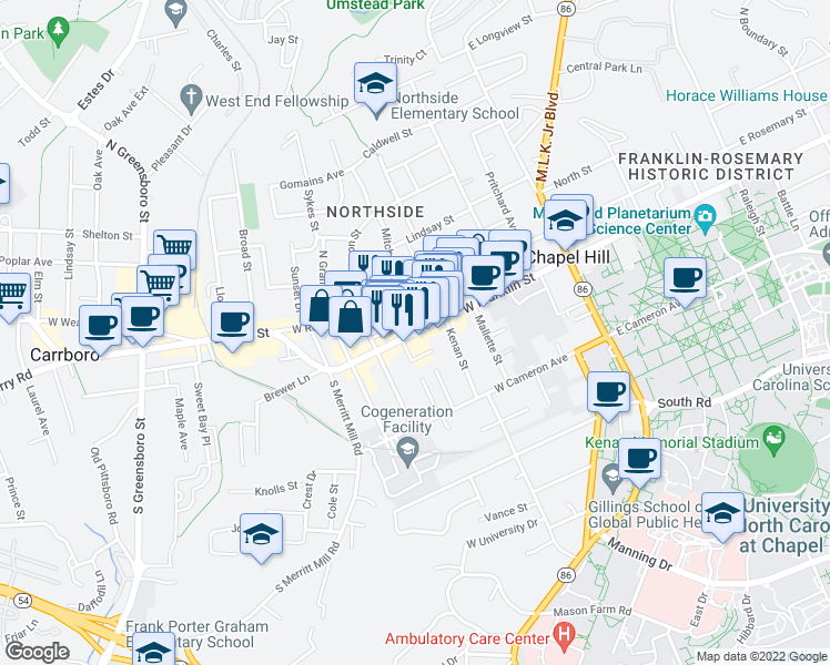 map of restaurants, bars, coffee shops, grocery stores, and more near 400 West Rosemary Street in Chapel Hill