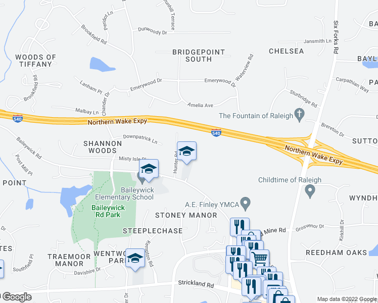 map of restaurants, bars, coffee shops, grocery stores, and more near 9324 Baileywick Rd in Raleigh