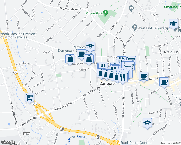 map of restaurants, bars, coffee shops, grocery stores, and more near 108 Bim Street in Carrboro