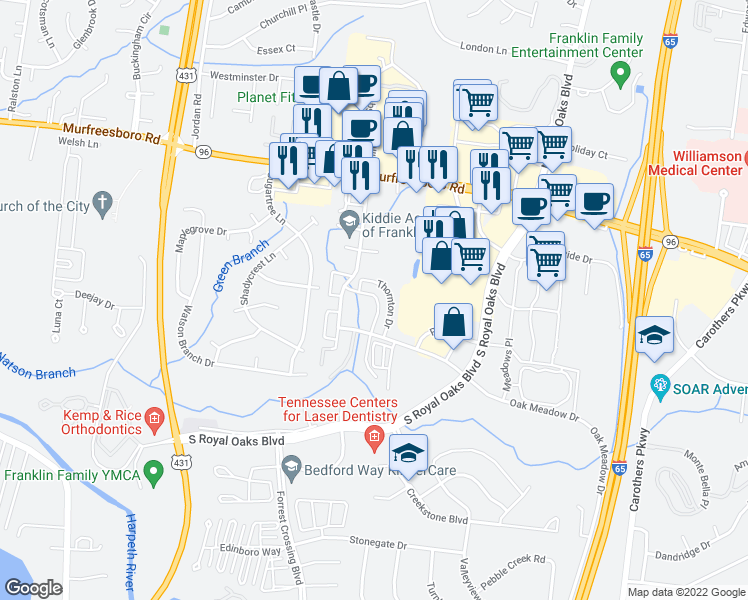 map of restaurants, bars, coffee shops, grocery stores, and more near 549 Southwinds Boulevard in Franklin
