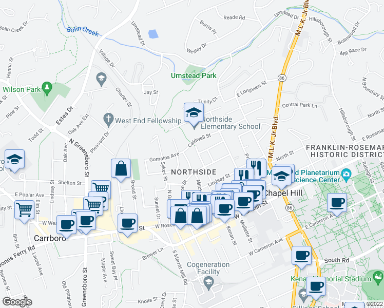 map of restaurants, bars, coffee shops, grocery stores, and more near 603 Cotton Street in Chapel Hill