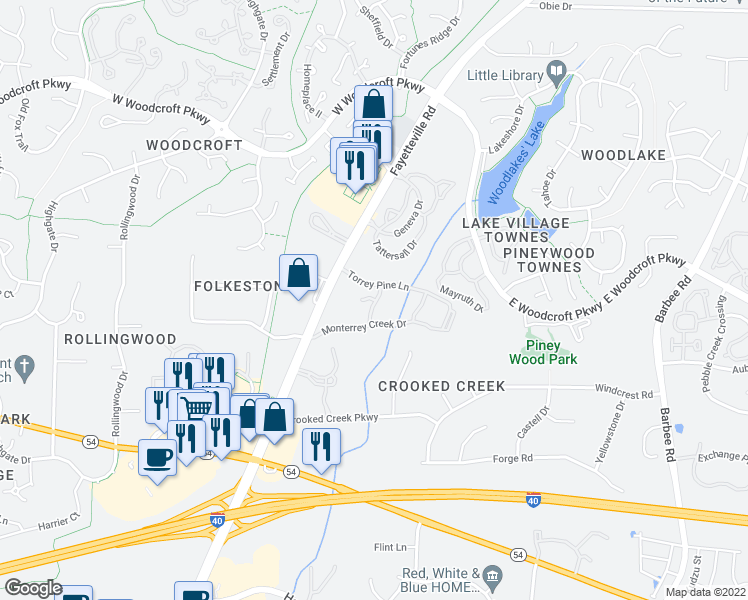 map of restaurants, bars, coffee shops, grocery stores, and more near 2410 Scots Pine Crossing in Durham