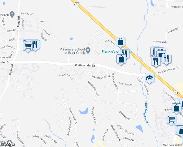 map of restaurants, bars, coffee shops, grocery stores, and more near 11010 Eastlake Club Drive in Raleigh