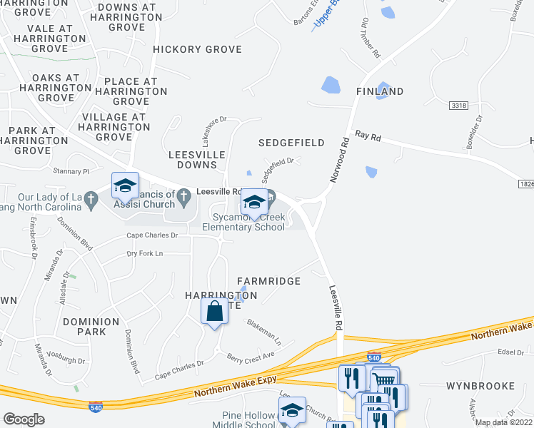 map of restaurants, bars, coffee shops, grocery stores, and more near 10921 Leesville Rd in Raleigh