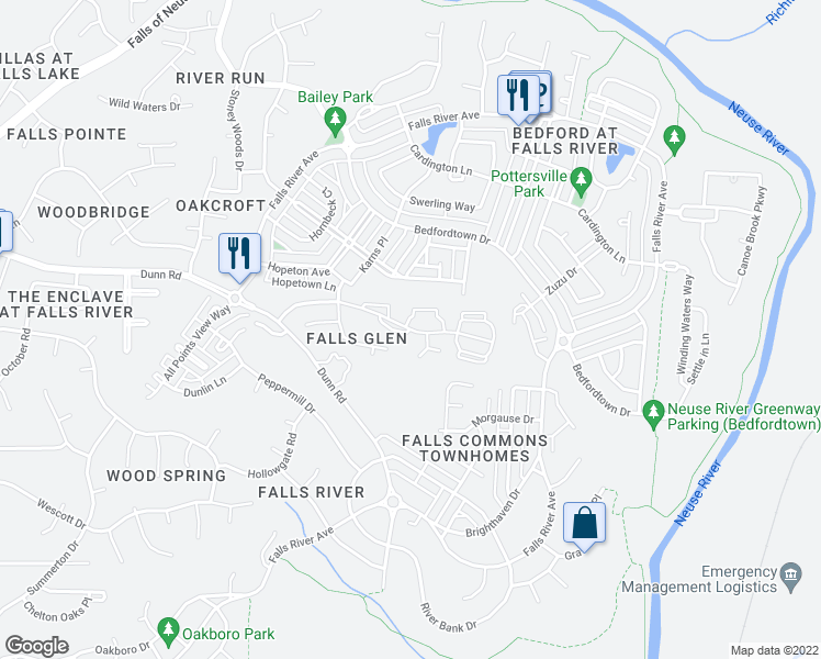 map of restaurants, bars, coffee shops, grocery stores, and more near 2100 Breezeway Drive in Raleigh