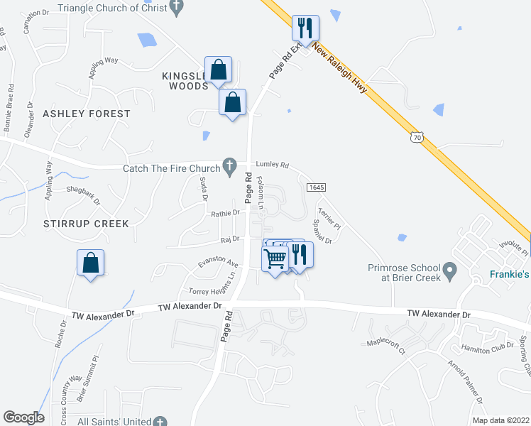 map of restaurants, bars, coffee shops, grocery stores, and more near 51-95 Adelaide Circle in Morrisville