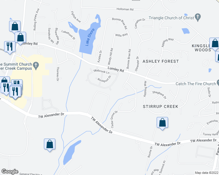 map of restaurants, bars, coffee shops, grocery stores, and more near 7 Bellmore Court in Durham