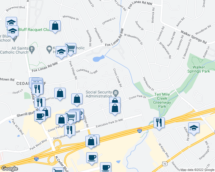 map of restaurants, bars, coffee shops, grocery stores, and more near 9098 Grayland Drive in Knoxville