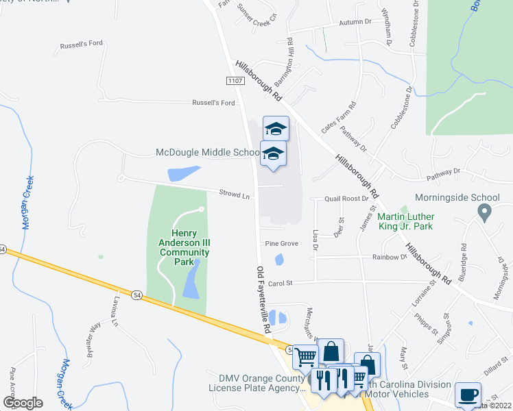 map of restaurants, bars, coffee shops, grocery stores, and more near 816-848 State Road 1107 in Chapel Hill