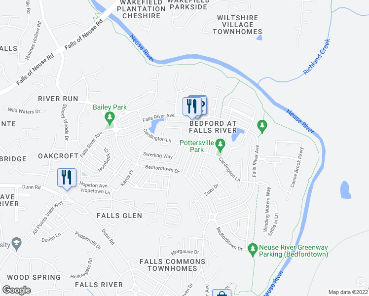 map of restaurants, bars, coffee shops, grocery stores, and more near 10604 Cardington Ln in Raleigh