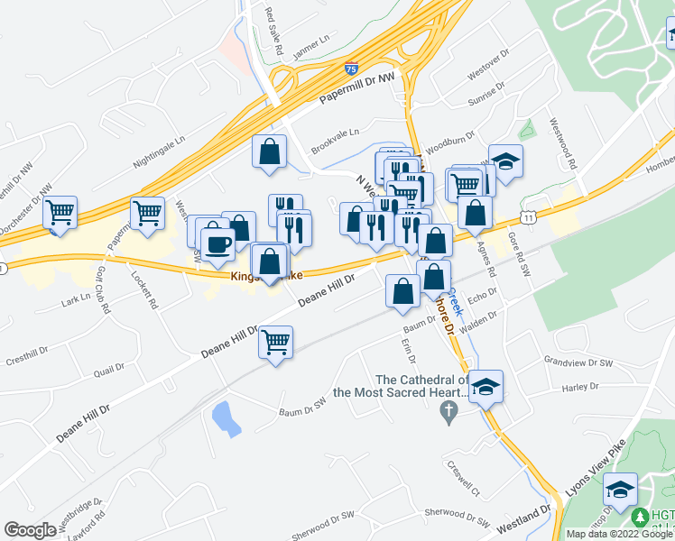 map of restaurants, bars, coffee shops, grocery stores, and more near 6221 Kingston Pike in Knoxville