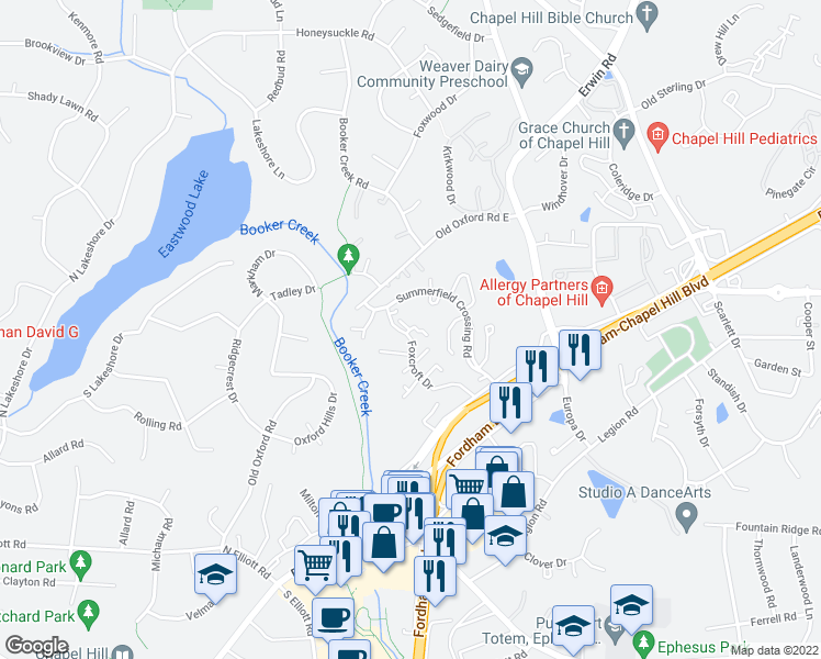 map of restaurants, bars, coffee shops, grocery stores, and more near Foxcroft Drive in Chapel Hill