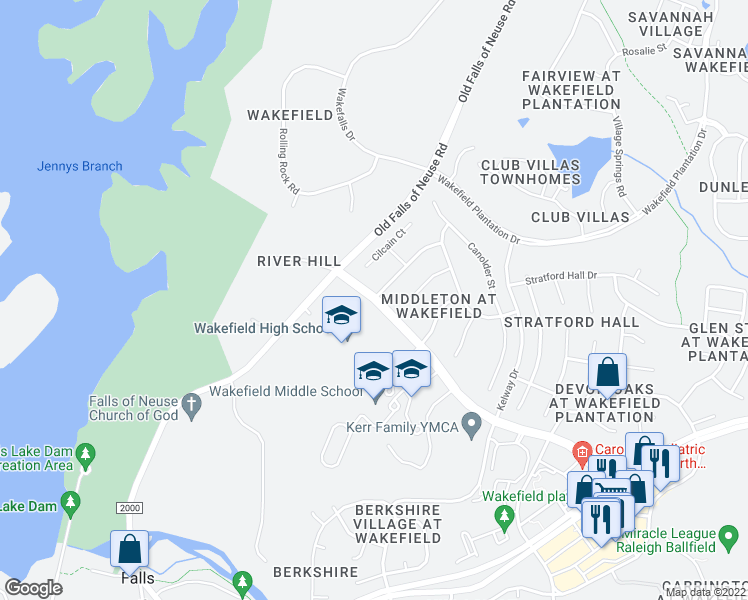 map of restaurants, bars, coffee shops, grocery stores, and more near 2200 Wakefield Pines Drive in Raleigh