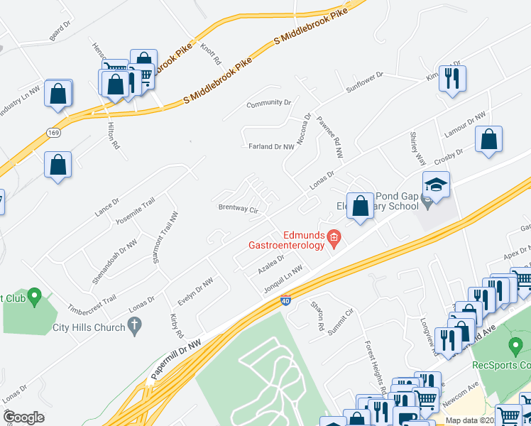 map of restaurants, bars, coffee shops, grocery stores, and more near 112-126 Brentway Circle in Knoxville
