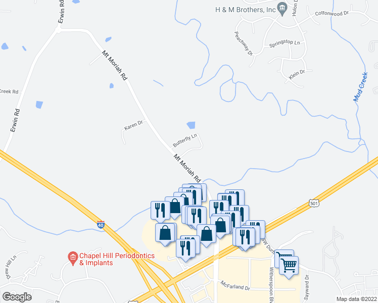 map of restaurants, bars, coffee shops, grocery stores, and more near 3111 Mount Moriah Road in Durham