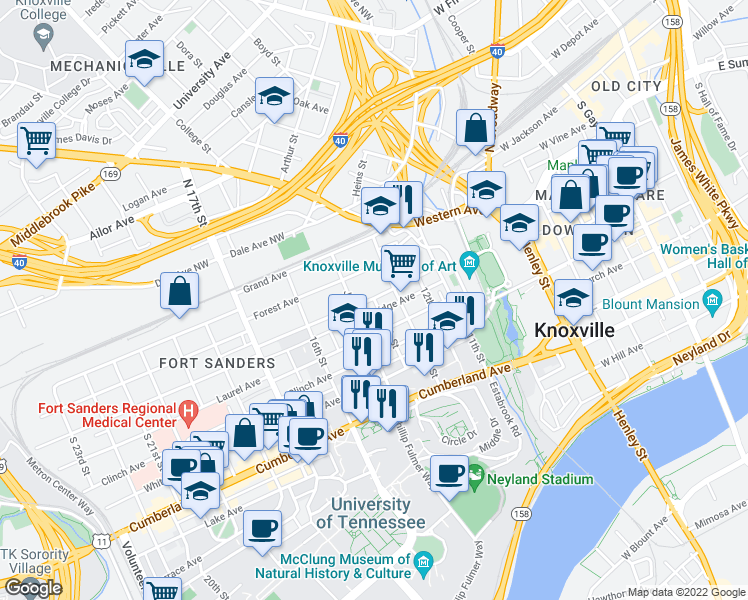 map of restaurants, bars, coffee shops, grocery stores, and more near Bridge Avenue Southwest in Knoxville