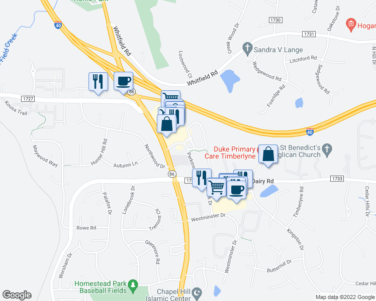 map of restaurants, bars, coffee shops, grocery stores, and more near Perkins Drive in Chapel Hill