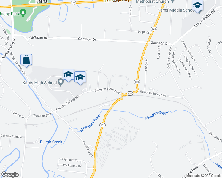 map of restaurants, bars, coffee shops, grocery stores, and more near 2641 Byington Solway Rd in Knoxville
