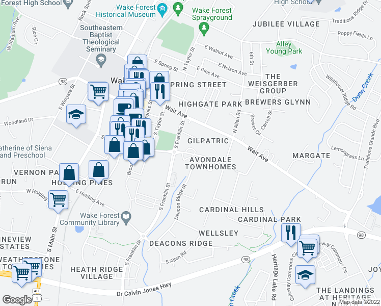 map of restaurants, bars, coffee shops, grocery stores, and more near 512 East Elm Street in Wake Forest